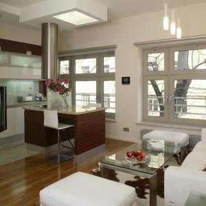 Salon i kuchnia dzielą tę samą przestrzeń, dlatego zostały zaaranżowane w podobnej stylistyce i kolorystyce. Fot. Monika Filipiuk.