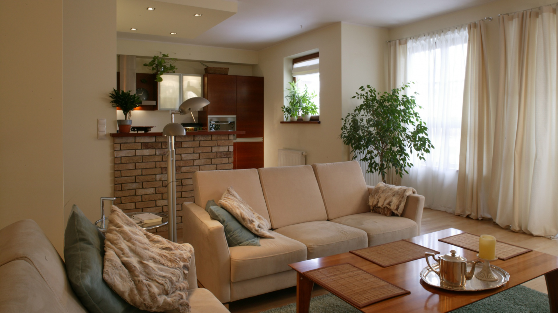 Miękkie kanapy, puszysty Kuchnia częściowo otwarta na   -> Sufit Kuchnia Salon