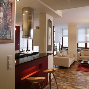 Do salonu wchodzi się z korytarza, który zdobi nie tylko brązowa szafa z metalowymi akcentami, ale także ściana ze szklanych pustaków, za którą znajduje się prysznic w łazience dla gości. Fot. Tomek Markowski.