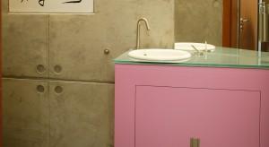 """Ta łazienka jest małym żartem. Złamaniem konwencji. Mieszanką surowego, naturalnego materiału, jakim jest beton, z Warholowską ikoną pop kultury – Marylin Monroe, słodkim różem i """"walającymi"""" się po pod"""