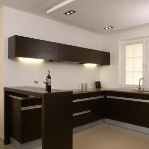Wyposażenie kuchni jest ograniczone do minimum, wręcz sterylne. Wykonane na zamówienie meble kryją w sobie wyłącznie niezbędny sprzęt kuchenny. Fot. Bartosz Jarosz.