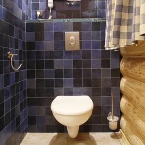 Sedes został ukryty we wnęce między kabiną prysznicową a ścianą z oknem. Zasłonka w biało – niebiesko kratę osłania ten zakątek od intensywnych promieni słonecznych i zapewnia intymność. Fot. Bartosz Jarosz.
