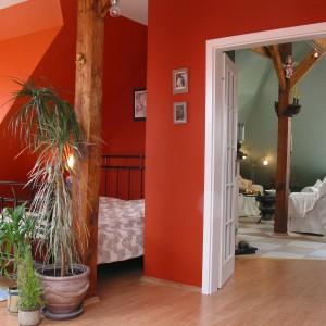 Sypialni i salonowi niewątpliwego uroku dodają drewniane słupy konstrukcyjne, będące zwykle nieodłącznym elementem mieszkań znajdujących się, jak i to, na poddaszu. Fot. Tomek Markowski.