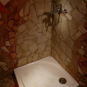 Maksymalnie prosty natrysk – brodzik i bateria. Rozgwiazdy to dekoracyjne akcesoria łazienkowe, które chronią też przed poślizgnięciem. Fot. Tomek Markowski.