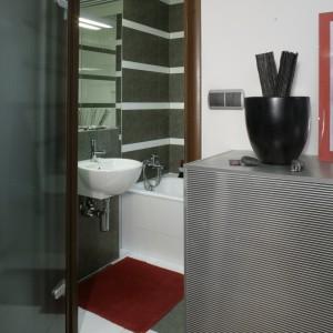 """Przyczyna powstania tego """"mebla"""" była prozaiczna: w niewielkiej łazience zabrakło miejsca na pralkę, dlatego w ścianie wybito dziurę i wstawiono w nią sprzęt agd. Fot. Monika Filipiuk."""