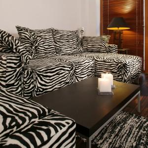 W kąciku wypoczynkowym, kanapa została obita materiałem do złudzenia przypominającym zebrę. Fot. Tomasz Markowski.