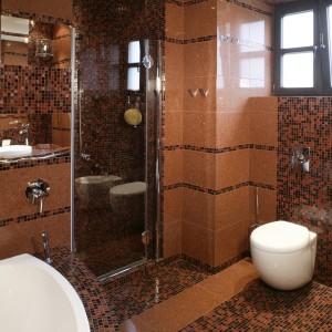 W zdominowanej miękkimi liniami łazience obły kształt mają także sedes i bidet. Dzięki tym formom, poszczególne strefy łazienki zdają się płynnie w siebie przechodzić. Fot. Monika Filipiuk.