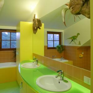 Głównym oświetleniem łazienki jest szklany blat umywalkowy, spod którego przenika mocne światło. Jego zieleń, podobnie jak posadzki, jest elementem stylizacji nawiązującym do pradawnej przyrody. Fot. Bartosz Jarosz.