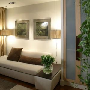 Ulokowany nieco na uboczu salonik, dzięki rozkładanej kanapie, może pełnić funkcję dodatkowego pokoju gościnnego. Przytwierdzone do ściany szklane półeczki zostały specjalnie zaprojektowane, aby wyeksponować kwiaty. Fot. Bartosz Jarosz.