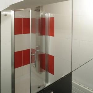 """Łazienka znajduje się pod schodami, stąd trudności z jej zagospodarowaniem. Prysznic jest pod skosem, i trzeba niestety nieco się """"ukłonić"""", by wejść do kabiny. Architekt wykazała sporo sprytu zagospodarowując tę przestrzeń. Fot. Monika Filipiuk."""