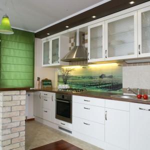 Ceglana ściana w kuchni: rustykalne wnętrze