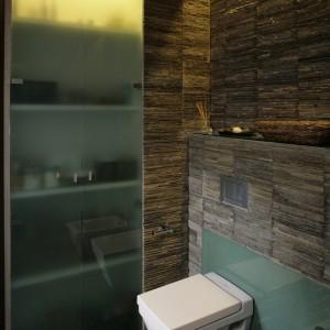 Obszerna szafa ze szklanymi drzwiami pozwala na dyskretne i estetyczne przechowywanie akcesoriów niezbędnych w każdym salonie kąpielowym. Fot. Bartosz Jarosz.
