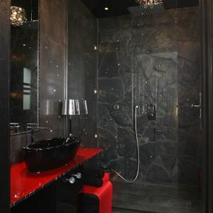 Efekt skalnej groty uzyskano głównie dzięki łupkowi, który zdobi ścianę kabiny prysznicowej. W grocie odnajdujemy kryształy: przyklejone do ściennych płytek gresowych oraz odbijające się w szklanej tafli drzwi kabiny prysznicowej, dzięki czemu ich ilość jest optycznie podwojona. Fot. Bartosz Jarosz.
