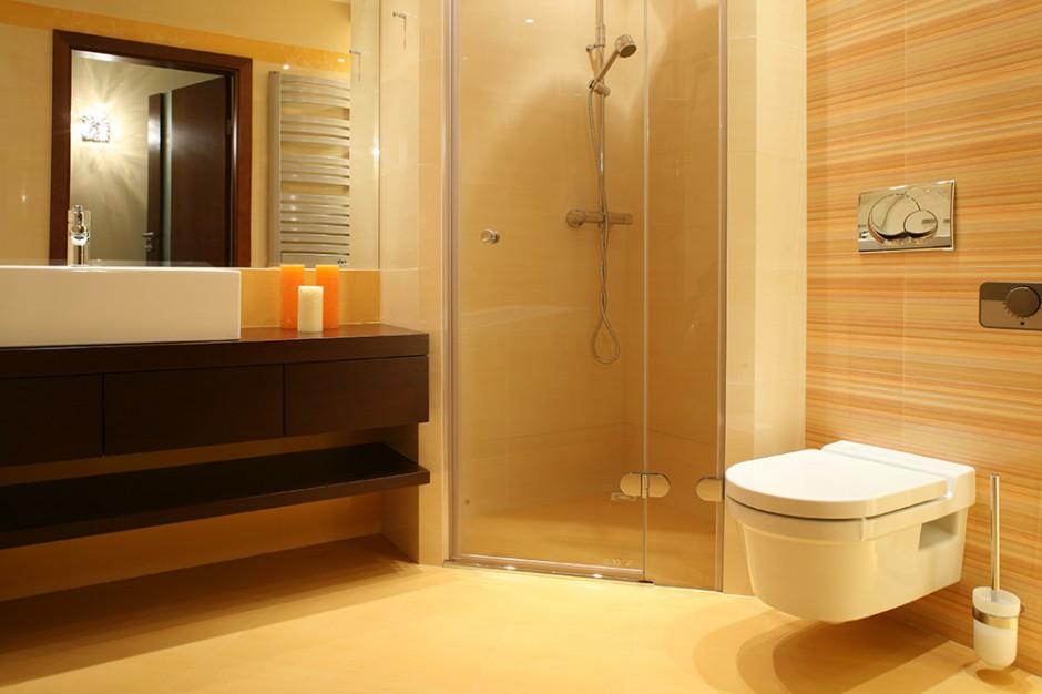 Łazienkowy narożnik, po zamknięciu z obu stron wąskimi ściankami działowymi, stał się wygodną kabiną prysznicową z odpływem w posadzce. Drzwi do prysznica - marki Artweger, zestaw natryskowy - Hansa. Fot. Bartosz Jarosz.