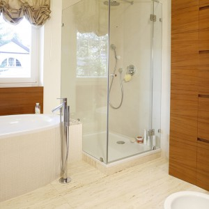 Wszystko w tej łazience wydaje się przejrzyste i lekkie, taka jest też kabina prysznicowa z dwóch tafli przezroczystego szkła. Fot. Monika Filipiuk.