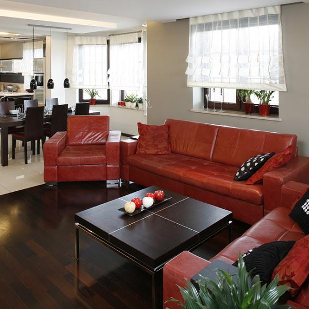Czerwone kanapy w salonie: wnętrze z charakterem