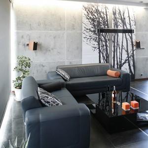 """Tło dla strefy wypoczynku tworzą """"betonowa"""" ściana i wyeksponowane na jej tle panele z nadrukiem lasu. Do skórzanych sof (Agata Meble) dobrano stolik kawowy z czarnego szkła (Modo4u). Fot. Bartosz Jarosz."""