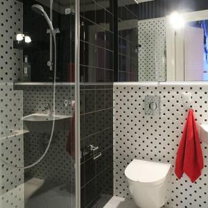 W łazience prócz wanny umieszczono szklaną kabinę. Jej lustrzana powierzchnia idealnie zgrywa się ze zwierciadlanym pasmem – dzięki temu mamy wrażenie optycznego powiększenia. Fot. Bartosz Jarosz.