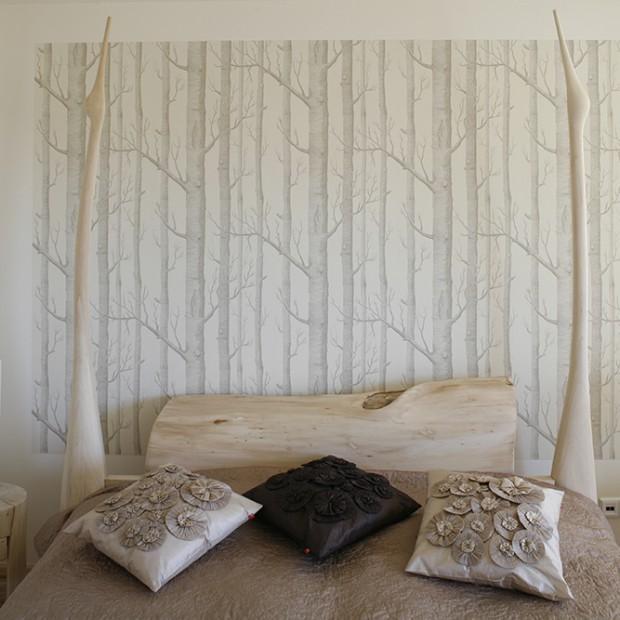 Tapeta z motywem lasu: sypialnia jak z baśni
