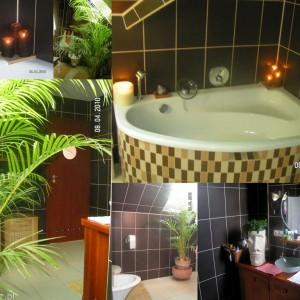 """7-houssek. """"Moje małe domowe SPA łazienka w barwach naturalnych, dodatki oczywiście naturalne kwiaty które uwielbiają to miejsce, palma oddziela jakby bidet, ubikację i prysznic. Pod umywalkę wykorzystałam komodę drewnianą. Świece dopełniają całości nadają nastroju przy odprężających kąpielach"""""""