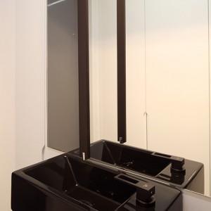 Baterię z wylewką sufitową wybrano z oferty firmy Porcelanosa, umywalka i sedes – marki Catalano. Wszystko w kolorze czarnym. Fot. Bartosz jarosz.