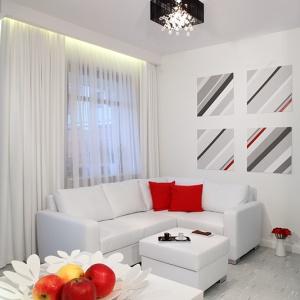 Strefa wypoczynkowa została połączona z kuchenno-jadalnianą. Takie rozwiązanie pozwoliło nie tylko zoptymalizować przestrzeń niewielkiego mieszkania, ale też podkreśliło jego nowoczesny charakter. Fot. Monika Filipiuk-Obałek.