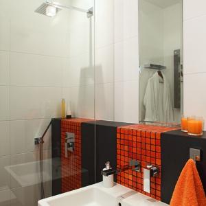 Funkcjonalny charakter łazience zapewnia otwarta wnęka prysznicowa, którą od reszty pomieszczenia oddziela wysoka tafla szkła. Fot. Monika Filipiuk-Obałek.