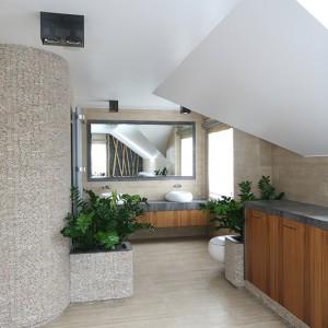 Półokrągła ścianka działowa, której wykończenie mozaiką z łupanego marmuru  (sprowadzoną z Bali) przechodzi także na donice z roślinami, przesłania prysznic. Fot. Bartosz Jarosz.