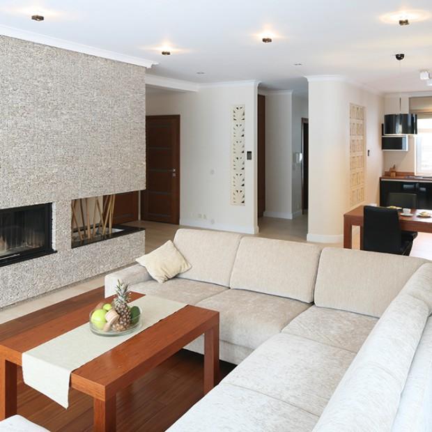 Salon ze ścianami z kamienia: pomysł na wnętrze