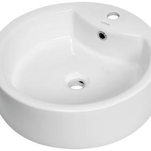Umywalka stawiana na blat dostosowana do jednootworowych baterii umywalkowych. Materiał: ceramika sanitarna Wym. 50x50x14,5 cm. Cena: ok. 269 zł, Deante/Dot.