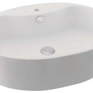 Nablatowa umywalka kompletowana z szafkami łazienkowymi lub blatem. Materiał: ceramika sanitarna Wym. 55,5 x 45,8 cm. Cena: ok. 429 zł, Actima/Germini.