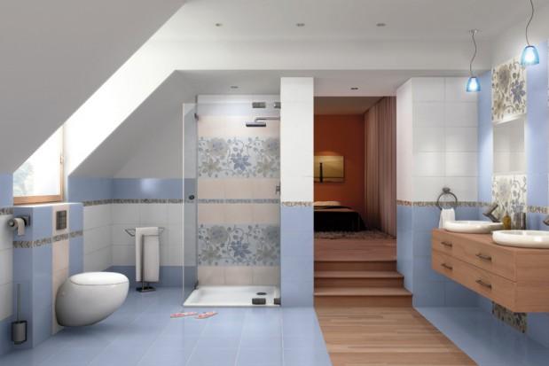 Niebieska łazienka.