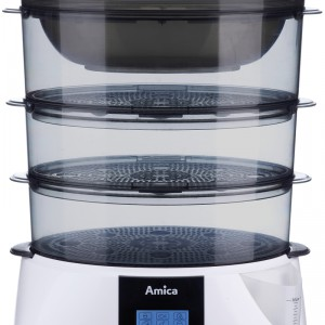 Parowar PT 3011 Lunaris wyposażony został w wiele praktycznych funkcji, m.in. regulator czasowy od 0 do 99 minut, automatyczne podtrzymanie temperatury, aromatyzer oraz wskaźnik i czujnik poziomu wody. Cena: ok. 259 zł, Amica.