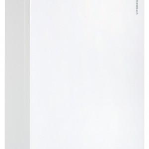 Vitodens 100-W - kondensacyjny, wiszący, dwufunkcyjny, z palnikiem MatriX, powierzchnią wymiany ciepła Inox-Radial, regulatorem sterowanym pogodowo lub temperaturą pomieszczenia. Zamknięta komora spalania. Można go zabudować (nie jest konieczne pozostawienie wolnych odstępów po bokach kotła). moc: od 6,5 do 35 kW (c.o.), od 5,9 do 35,0 kW (c.w.u.) wymiary: 70x40x35 cm. Cena: ok. 7.180zł, Viessmann.