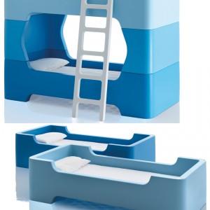 Dziecięce łóżko piętrowe Bunky po rozłożeniu zamienia się w dwa oddzielne łóżeczka. Magis Design.