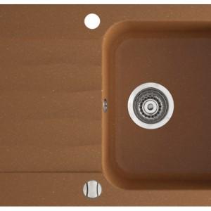 Zlewozmywak 1-komorowy Ignis z dużym ociekaczem. Wpuszczany w blat. Z możliwością montażu młynka. Z   przelewem. Wykonany z higienicznego materiału. W komplecie: korek automatyczny, komplet odpływowy, syfon. Marmorin.