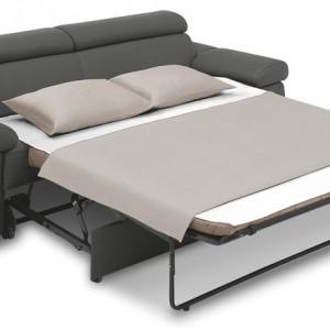 Sofa z kolekcji Zoom z funkcją spania i pojemnikiem do przechowywania pościeli. Posiada ruchome podłokietniki i zagłówki...