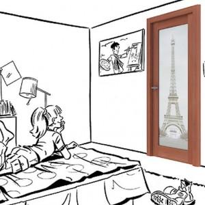 Model z Wieżą Eiffla. Rys. Drzwi i podłogi VOX.