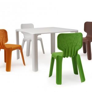 Krzesełka Alma z roślinnym wzorem na oparciu dostępne w 4 wesołych wzorach. Na zdjęciu w zestawie ze stołem Linus. Proj. Javier Mariscal. Magis Me Too/Fabryka Form.