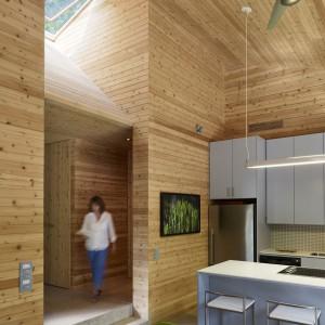 Drewno cedrowe pojawia się  na ścianach, sufitach oraz stałej zabudowie. Podkreśla nowoczesny charakter prostej szarej kuchni. Fot. Shai Gil.