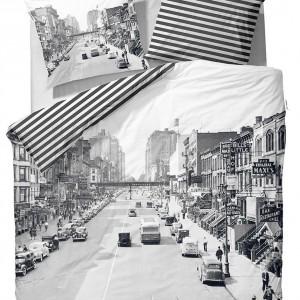 The Streets to pościel z fotografią ulicy sprzed wielu lat. Druga strona poszewki to biało- czarne paski.Fot. Covers & Co.