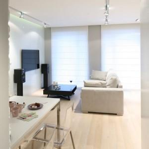 Wysokie okna zapewniają dużą dawkę światła dziennego, zwłaszcza w salonie. W szczelinie pomiędzy podwieszanym sufitem a ścianą umieszczono linię świetlną, która oferuje atrakcyjne  oświetlenie wieczorne. Fot. Bartosz Jarosz.