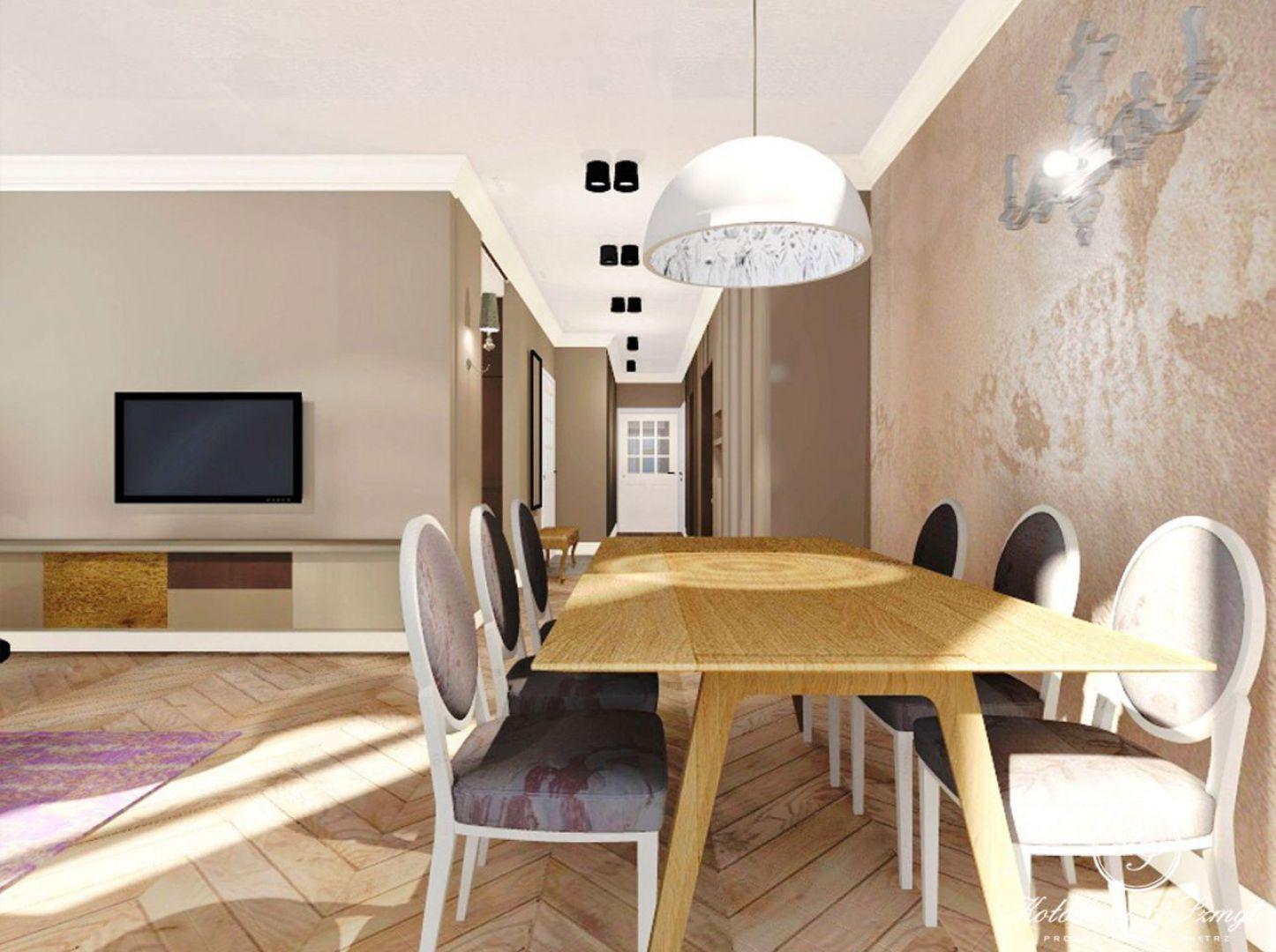 Projekt wnętrza apartamentu na warszawskim Ursynowie o powierzchni 115 m². Wnętrze jest nowoczesne ale Inwestorom zależało na kilku detalach retro. Fot. Archiwum Archiconnect