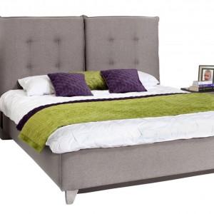 Łóżko tapicerowane Feng o wezgłowiu podzielonym na dwie części. Dostępne w trzech wymiarach, z pojemnikiem lub bez.  Fot. Wajnert.
