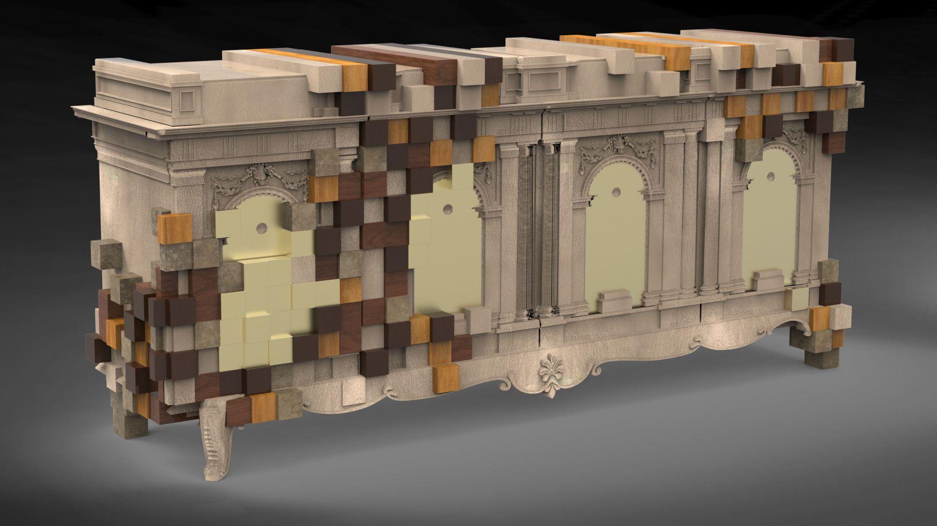 Oryginalna komoda Piccadilly, zdobiona ornamentem przypominającym piksele.  Fot. Boca do Lobo.