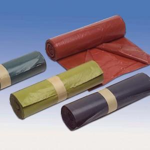 Duże worki na odpady zielone, wykonane z mocnej folii LDPE.  Bionovo 50,18 zł rolka 25 szt.