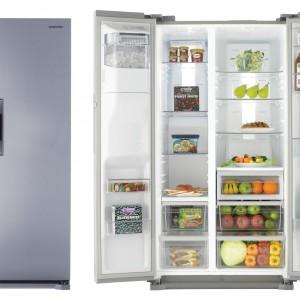 Chłodziarko-zamrażarka RS7768FHCSL z technologią Twin Cooling Plus, zapewniającą oddzielną cyrkulację powietrza w zamrażarce oraz chłodziarce. Posiada barek, system No Frost, kompresor Digital Inverter (który dodatkowo optymalizuje zużycie prądu) oraz system Multi Flow. Dystrybutor wody i lodu jest dostosowany do wysokich szklanek. Pojemność całkowita: 545 l. Klasa energetyczna: A++. 8.499 zł, Samsung.