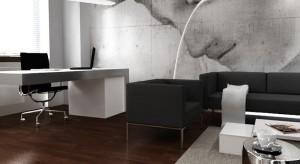Wystrój tego luksusowego biura oparto o ponadczasowe zestawienie bieli z czernią. Uzupełnia go wyrazista fototapeta, która z pewnością zrobi wrażenie na kontrahencie czy potencjalnym partnerze.