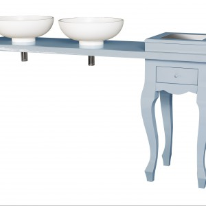 Sekretarzyk z dwiema umywalkami Freak. Wykonany z litego drewna, dostępny w pastelowych kolorach. Idealny do wnętrza młodej damy. Wycena indywidualna, Dutch Deluxes.