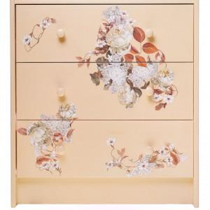Drewniana komoda (Ważka Nieważka) ręcznie malowana w kwiaty, w brzoskwiniowym kolorze, wys. 70 cm. 390 zł, Pakamera.pl